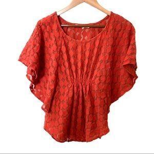Anthro The Addison Story Lunar Cycles Top Red S